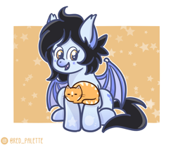 Size: 904x744 | Tagged: safe, artist:redpalette, oc, oc:mitzy, bat pony, cat, cute, pet, sitting, smiling, spread wings, wings