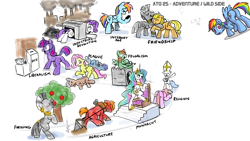 Size: 1920x1080 | Tagged: safe, artist:ponyhell, applejack, big macintosh, fluttershy, princess celestia, rainbow dash, rarity, twilight sparkle, zecora, alicorn, earth pony, pegasus, pony, unicorn, zebra, apple, apple tree, atg 2020, butt, cellphone, crossbow, dead, female, food, history, hug, industry, male, mare, newbie artist training grounds, on back, phone, plot, plow, rarity is industry, religion, smartphone, stallion, tree, unicorn twilight, x eyes