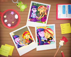 Size: 5498x4412 | Tagged: safe, artist:invisibleink, sunset shimmer, twilight sparkle, frog, equestria girls, equestria girls (movie), equestria girls series, amusement park, cafeteria, clothes, drink, festival, friendship, holding hands, hug, paintbrush, pencil, phone, photography, smiling, sticky note