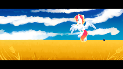 Size: 1280x720 | Tagged: safe, artist:sonnatora, artist:sonnatora-old, oc, oc only, oc:spectrum beam, pegasus, pony, doctor who, field, flying, solo, tardis
