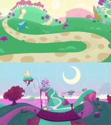 Size: 1280x1436 | Tagged: safe, screencap, my little pony: pony life, background, crescent moon, floating island, moon, no pony, sugarcube corner