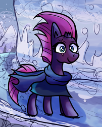 Size: 1440x1780 | Tagged: safe, artist:superhypersonic2000, fizzlepop berrytwist, tempest shadow, pony, unicorn, broken horn, clothes, eye scar, female, horn, mare, scar, scarf, smiling, snow, solo