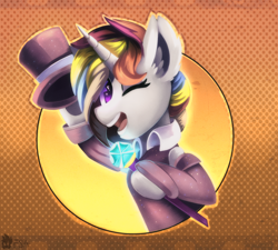 Size: 2000x1800 | Tagged: safe, artist:freak-side, oc, pony, unicorn, clothes, costume, hat, solo, top hat