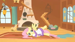 Size: 1280x720 | Tagged: safe, screencap, fluttershy, pony, hurricane fluttershy, bathrobe, clothes, fluttershy's cottage, robe, solo