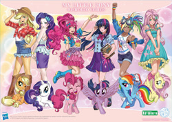 Size: 1755x1240 | Tagged: safe, artist:shunya yamashita, edit, editor:michaelsety, kotobukiya, applejack, fluttershy, pinkie pie, rainbow dash, rarity, twilight sparkle, alicorn, earth pony, human, pegasus, pony, unicorn, equestria girls, anime, anime style, applejack's hat, bare shoulders, bishoujo, book, book of harmony, boots, bracelet, clothes, cowboy hat, dark skin, denim skirt, dress, elements of harmony (book), eyes closed, fake ears, female, glasses, goggles, hasbro logo, hat, human coloration, human ponidox, humane five, humane six, humanized, i can't believe it's not sci-twi, jewelry, kotobukiya applejack, kotobukiya fluttershy, kotobukiya pinkie pie, kotobukiya rainbow dash, kotobukiya rarity, kotobukiya twilight sparkle, looking at you, mane six, mare, miniskirt, moe, one eye closed, open mouth, pleated skirt, ponytail, prone, self ponidox, shirt, shoes, shorts, side slit, sitting, skirt, sleeveless, smiling, socks, spread wings, stetson, tan, tanktop, twilight sparkle (alicorn), twilight's professional glasses, wings, wink, wristband