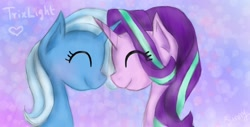 Size: 1600x810 | Tagged: safe, artist:sunnyroop23, starlight glimmer, trixie, pony, unicorn, eyes closed, female, horn, horns are touching, lesbian, shipping, smiling, startrix