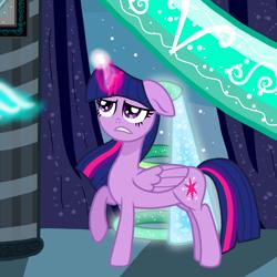 Size: 1200x1200 | Tagged: safe, artist:katya, edit, twilight sparkle, alicorn, pony, cropped, floppy ears, glowing horn, horn, solo, twilight sparkle (alicorn)