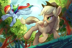 Size: 2048x1364 | Tagged: safe, artist:amo, applejack, rainbow dash, earth pony, pegasus, pony, appledash, duo, female, flying, lesbian, looking back, running, shipping