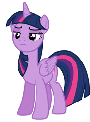 Size: 5179x7000 | Tagged: safe, artist:estories, twilight sparkle, alicorn, pony, female, folded wings, frown, lidded eyes, mare, simple background, solo, transparent background, twilight sparkle (alicorn), wings