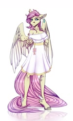Size: 1024x1704 | Tagged: safe, artist:heroin-burn, fluttershy, anthro, unguligrade anthro, bra, bra strap, braid, clothes, cutie mark accessory, dress, ear piercing, earring, feathered fetlocks, jewelry, long tail, piercing, signature, underwear