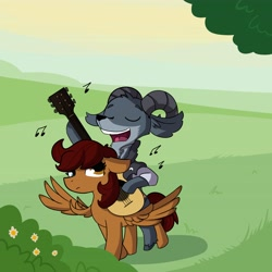 Size: 4096x4096 | Tagged: safe, alternate version, artist:tjpones, oc, oc only, goat, pegasus, pony, duo, eyes closed, female, guitar, heterochromia, male, mare, music notes, musical instrument, open mouth, singing