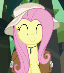 Size: 689x783 | Tagged: safe, screencap, fluttershy, daring doubt, bag, cropped, cute, eyes closed, happy, hat, saddle bag, shyabetes, solo