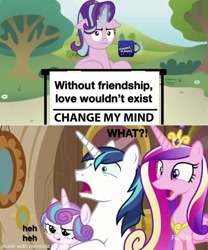 Size: 1000x1200 | Tagged: safe, artist:aleximusprime, edit, edited screencap, screencap, princess cadance, princess flurry heart, shining armor, starlight glimmer, alicorn, unicorn, once upon a zeppelin, :i, change my mind, chocolate, crown, cup, food, funny, hot chocolate, i mean i see, jewelry, mematic, meme, reaction image, regalia, varying degrees of what