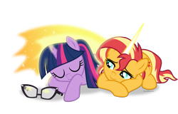 Size: 5300x3388 | Tagged: safe, artist:limedazzle, sci-twi, sunset shimmer, twilight sparkle, pony, unicorn, equestria girls, absurd resolution, daydream shimmer, equestria girls ponified, female, hug, lesbian, magic, prone, scitwishimmer, shipping, simple background, sleeping, sunglasses, sunsetsparkle, transparent background, unicorn sci-twi, winghug