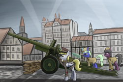 Size: 2850x1900 | Tagged: safe, artist:sinniepony, derpy hooves, oc, unnamed oc, earth pony, pegasus, pony, unicorn, artillery, binoculars, city, clothes, female, glowing horn, horn, magic, mare, red army, sandbag, shell, soviet union, telekinesis, uniform, world war ii