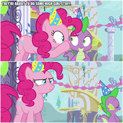 Size: 1000x1000 | Tagged: safe, edit, edited screencap, screencap, pinkie pie, spike, dragon, earth pony, pony, amending fences, comic, female, hat, male, mare, party hat, screencap comic