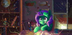 Size: 1920x937 | Tagged: safe, artist:zobaloba, oc, oc only, oc:buggy code, pony, unicorn, book, bookshelf, brush, commission, digital art, drawing, glasses, globe, imagination, lamp, pencil, plant, solo, tongue out, window, ych example, ych result, your character here