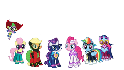Size: 1920x1080 | Tagged: safe, edit, edited screencap, screencap, applejack, fili-second, fluttershy, humdrum, masked matter-horn, mistress marevelous, pinkie pie, radiance, rainbow dash, rarity, saddle rager, spike, twilight sparkle, zapp, alicorn, background removed, female, looking at you, male, mane seven, mane six, power ponies, power ponies go, simple background, smiling, smiling at you, transparent background, twilight sparkle (alicorn)