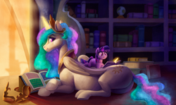Size: 2200x1312 | Tagged: safe, artist:tsitra360, princess celestia, twilight sparkle, alicorn, pony, unicorn, blank flank, book, bookshelf, butt, cute, cutelestia, cutie mark, female, filly, filly twilight sparkle, hoers, indoors, looking back, lying down, magic, momlestia, plot, ponies riding ponies, profile, prone, reading, riding, size difference, smiling, sunbutt, teacher and student, telekinesis, twiabetes, twily, unicorn twilight, younger