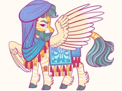 Size: 1024x768 | Tagged: safe, artist:loryska, oc, oc only, hybrid, zebra, zebrasus, zony, beard, cloven hooves, facial hair, interspecies offspring, magical lesbian spawn, male, offspring, parent:princess celestia, parent:zecora, parents:zelestia, saddle arabian outfit, simple background, solo, turban, white background