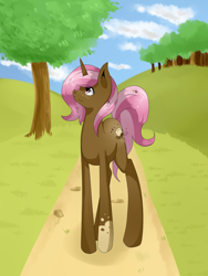 Size: 1500x2000   Tagged: safe, artist:tomat-in-cup, oc, oc only, pony, unicorn, cloud, horn, looking up, outdoors, solo, tree, unicorn oc