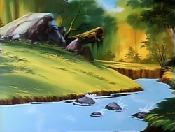 Size: 1000x754 | Tagged: safe, screencap, my little pony 'n friends, pony puppy, boulder, forest, g1, log, no pony, river, stream