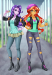 Size: 770x1100 | Tagged: safe, artist:racoonsan, color edit, edit, editor:drakeyc, starlight glimmer, sunset shimmer, equestria girls, mirror magic, spoiler:eqg specials, anime, beanie, clothes, clothes swap, colored, cute, duo, equestria girls edit, food, hat, ice cream, ice cream cone, skin color edit, that human sure does love ice cream