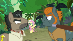 Size: 1920x1080   Tagged: safe, screencap, doctor caballeron, fluttershy, rogue (character), daring doubt, cute, hat, raised hoof, shyabetes