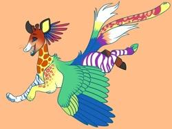 Size: 1024x768 | Tagged: safe, artist:loryska, oc, oc only, draconequus, hybrid, draconequus oc, interspecies offspring, offspring, orange background, parent:discord, parent:zecora, parents:zecord, simple background, solo