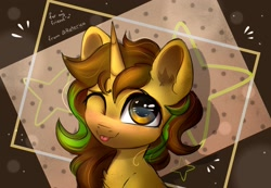 Size: 2307x1600   Tagged: safe, alternate version, artist:reterica, oc, oc only, oc:awkward dork, pony, unicorn, :p, abstract background, chest fluff, femboy, gif, looking at you, male, one eye closed, smiling, solo, stallion, tongue out, wink