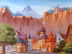 Size: 1000x756 | Tagged: safe, screencap, bright lights, my little pony 'n friends, cliff, g1, house, mountain, no pony, rainbow valley, scenery, town, tree