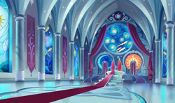 Size: 1920x1127   Tagged: safe, artist:laura bifano, my little pony: the movie, the art of my little pony: the movie, canterlot castle, canterlot throne room, no pony, palace, scenery, stained glass, throne, throne room