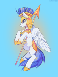 Size: 750x1000   Tagged: safe, artist:margony, pegasus, pony, royal guard, solo, spear, weapon