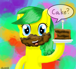 Size: 771x701   Tagged: safe, artist:lost-our-dreams, oc, oc:lily spark, earth pony, cake, food, solo