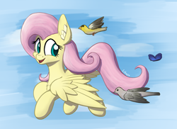 Size: 1850x1350   Tagged: safe, artist:litrojia, fluttershy, bird, butterfly, dove, pegasus, pony, abstract background, atg 2020, cheek fluff, chest fluff, ear fluff, female, finch, fluffy, goldfinch, looking back, mare, mourning dove, newbie artist training grounds, smiling, spread wings, wings