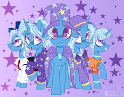 Size: 2620x2051 | Tagged: safe, artist:n in a, trixie, pony, unicorn, abstract background, alternate hairstyle, babysitter trixie, bracelet, cape, chest fluff, clothes, cute, diatrixes, digital art, female, gameloft, gameloft interpretation, hat, high res, hoodie, jewelry, looking at you, mare, necklace, ponytails, raised hoof, self ponidox, simple background, smiling at you, starry eyes, trixie's cape, trixie's hat, wingding eyes