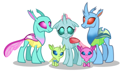 Size: 1004x602 | Tagged: safe, artist:thurder2020, axilla, carapace (character), lumbar, ocellus, spiracle, changedling, changeling, brother and sister, family, father and child, father and daughter, female, male, mother and child, mother and daughter, siblings, sisters