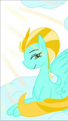 Size: 279x500 | Tagged: safe, artist:vietmanlee, lightning dust, pegasus, pony, cloud, female, looking at you, mare, prone, smiling, solo, spread wings, wings