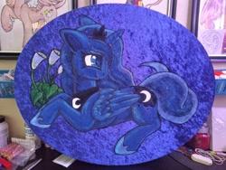Size: 4160x3120 | Tagged: safe, artist:gleamydreams, princess luna, alicorn, pony, irl, painting, photo