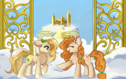 Size: 1920x1200 | Tagged: safe, artist:lunar froxy, pear butter, oc, earth pony, castle, cloud, crying, female, gate, halo, heaven, mare