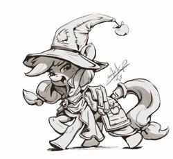 Size: 1080x989 | Tagged: safe, artist:assasinmonkey, applejack, pony, clothes, digital art, female, hat, mare, monochrome, solo, wizard hat