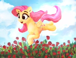 Size: 2048x1582 | Tagged: safe, artist:thefloatingtree, fluttershy, pegasus, pony, atg 2020, cute, female, field, flower, flower field, mare, newbie artist training grounds, open mouth, shyabetes, solo, tulip