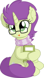 Size: 4977x8742 | Tagged: safe, artist:cyanlightning, oc, oc:sky spark, unicorn, .svg available, absurd resolution, book, clothes, female, glasses, holding, mare, nerd, scarf, simple background, transparent background, vector