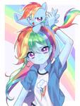Size: 1356x1800 | Tagged: safe, artist:aruba, artist:ikupom_twi, rainbow dash, human, pegasus, pony, equestria girls, anime, cute, dashabetes, female, human ponidox, looking at you, open mouth, ponies riding humans, pony on head, rainbow, redraw, riding, self ponidox, square crossover