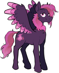 Size: 709x871 | Tagged: safe, artist:malphym, oc, oc:hestia, pegasus, pony, colored wings, female, magical lesbian spawn, mare, multicolored wings, offspring, parent:princess luna, parent:twinkleshine, simple background, solo, transparent background, wings