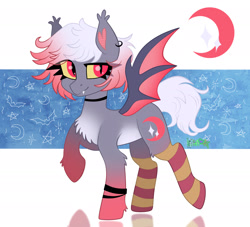 Size: 2200x2000 | Tagged: safe, artist:irinamar, oc, oc only, unnamed oc, bat pony, bat pony oc, bat wings, chest fluff, choker, clothes, colored sclera, ear fluff, ear piercing, earring, fangs, jewelry, looking at you, multicolored mane, piercing, raised hoof, signature, slit eyes, smiling, socks, solo, stockings, striped socks, thigh highs, wings, wristband