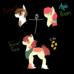 Size: 1100x1100 | Tagged: safe, artist:lepiswerid, apple bloom, pipsqueak, oc, oc:treasure trove, earth pony, pony, bandana, bow, braid, colored hooves, cutie mark, faded, married, married couple, marsverse, offspring, parent:apple bloom, parent:pipsqueak, parents:pipbloom, redesign