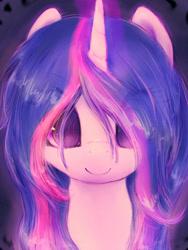 Size: 2000x2666 | Tagged: safe, artist:plotcore, twilight sparkle, pony, alternate hairstyle, bust, female, portrait, smiling, solo