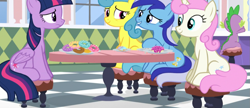Size: 1127x489 | Tagged: safe, screencap, lemon hearts, minuette, spike, twilight sparkle, twinkleshine, alicorn, amending fences, donut, food, sitting, twilight sparkle (alicorn)