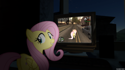 Size: 2560x1438 | Tagged: safe, artist:faze-alan-mskull2019, fluttershy, computer, game, grand theft auto, gta san andreas, house, looking at you, night